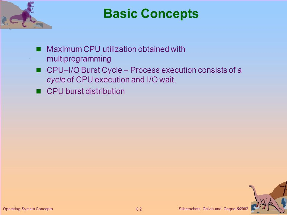 Silberschatz, Galvin and Gagne  Operating System Concepts Basic Concepts Maximum CPU utilization obtained with multiprogramming CPU–I/O Burst Cycle – Process execution consists of a cycle of CPU execution and I/O wait.