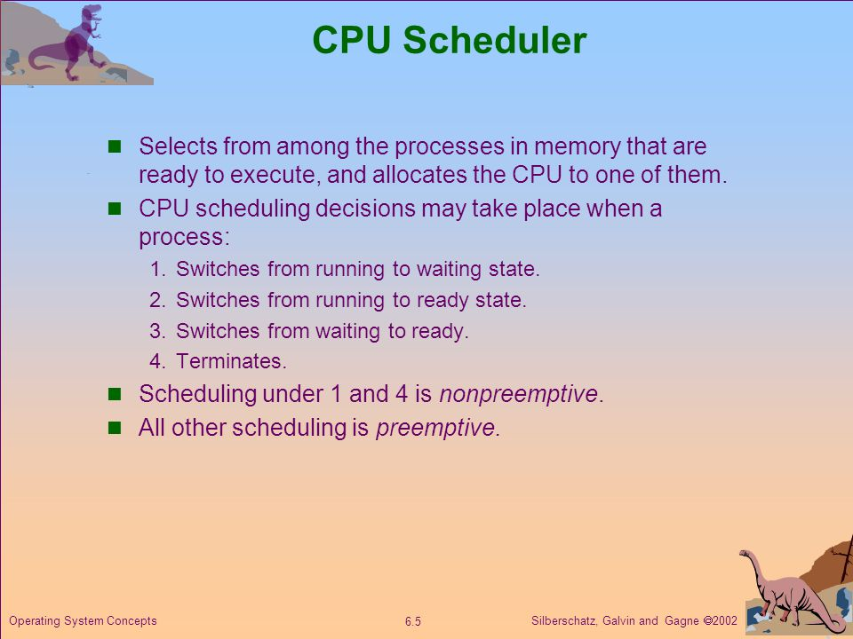 Silberschatz, Galvin and Gagne  Operating System Concepts CPU Scheduler Selects from among the processes in memory that are ready to execute, and allocates the CPU to one of them.