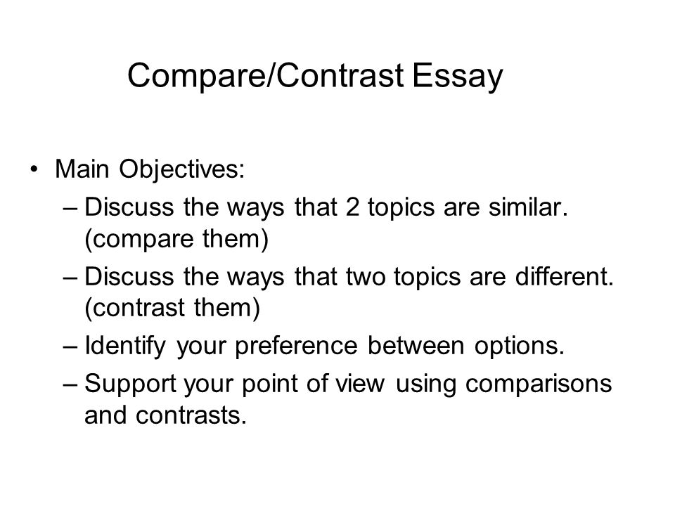 English Essay Websites  Comparecontrast Essay  Essays About Health also Persuasive Essays For High School Comparecontrast Essay Main Objectives Discuss The Ways That   Sample Of Proposal Essay
