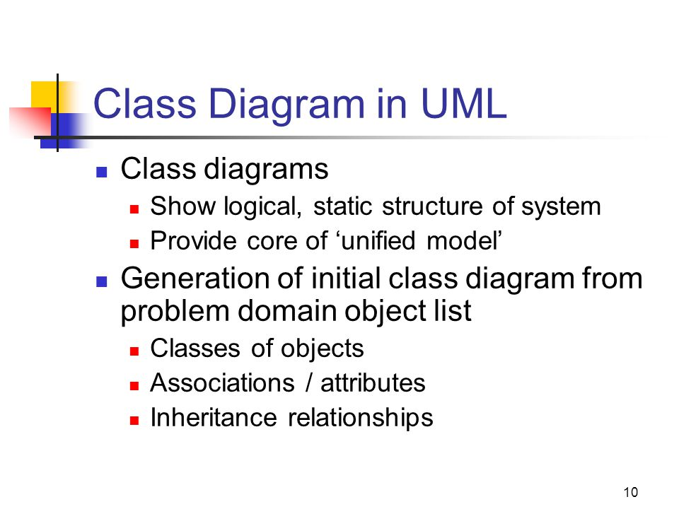 10 Class Diagram in UML Class diagrams Show logical, static structure of system Provide core of 'unified model' Generation of initial class diagram from problem domain object list Classes of objects Associations / attributes Inheritance relationships