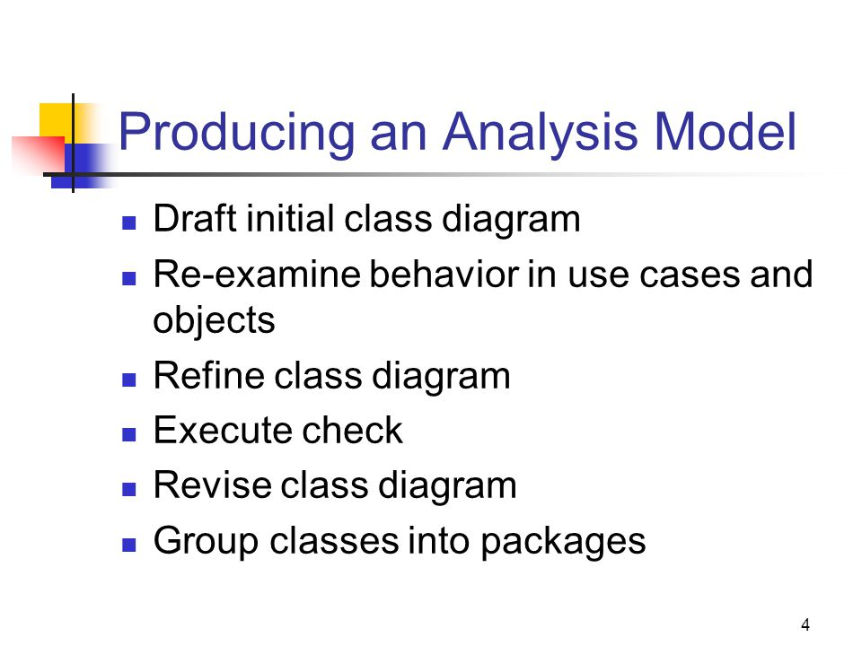 4 Producing an Analysis Model Draft initial class diagram Re-examine behavior in use cases and objects Refine class diagram Execute check Revise class diagram Group classes into packages