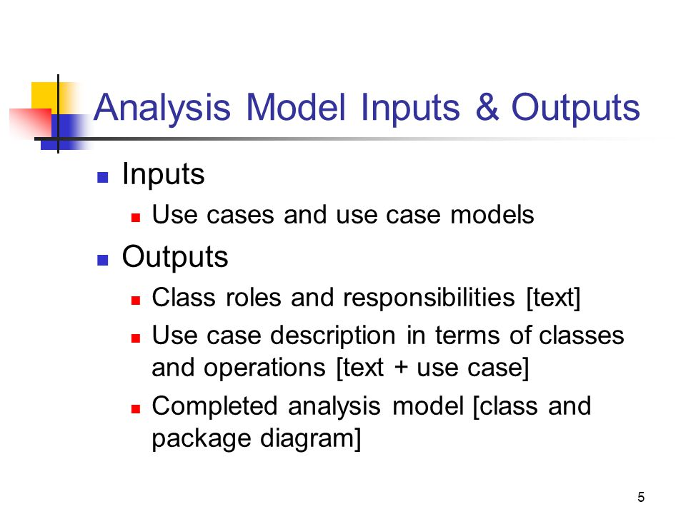 5 Analysis Model Inputs & Outputs Inputs Use cases and use case models Outputs Class roles and responsibilities [text] Use case description in terms of classes and operations [text + use case] Completed analysis model [class and package diagram]