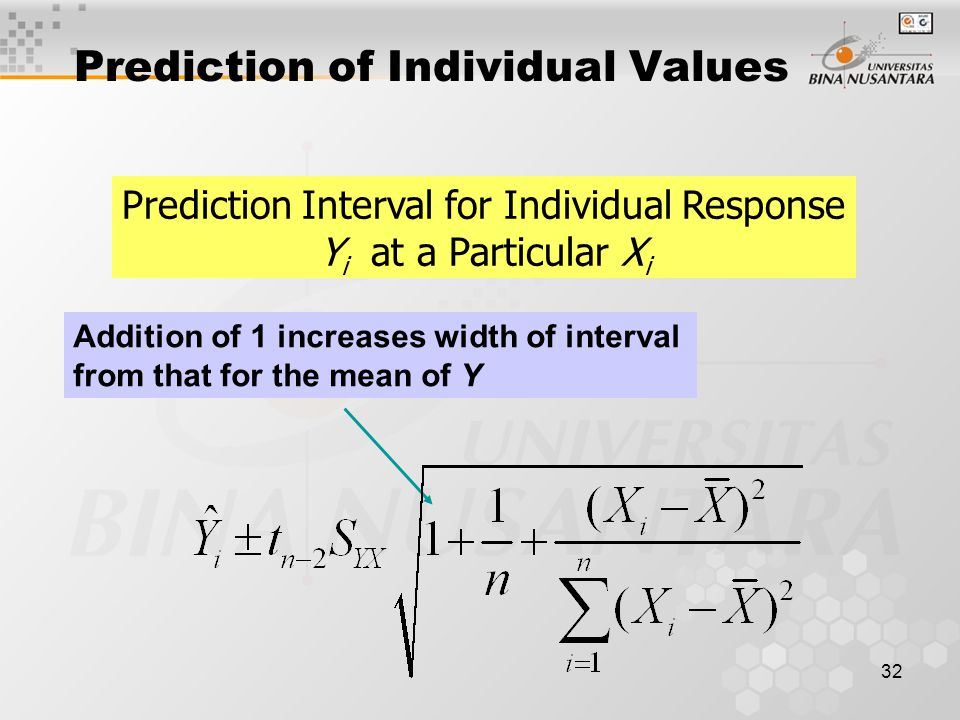 32 Prediction of Individual Values Prediction Interval for Individual Response Y i at a Particular X i Addition of 1 increases width of interval from that for the mean of Y