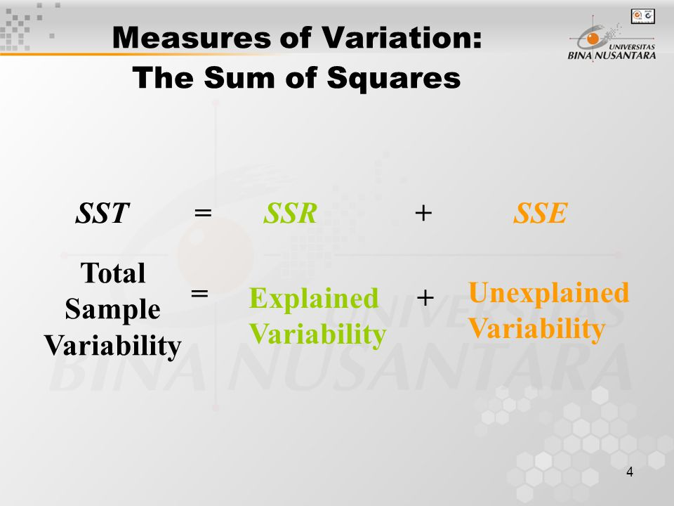 4 Measures of Variation: The Sum of Squares SST = SSR + SSE Total Sample Variability = Explained Variability + Unexplained Variability
