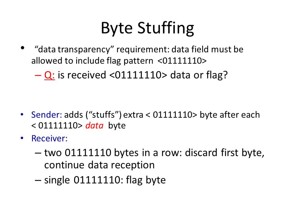 Byte Stuffing data transparency requirement: data field must be allowed to include flag pattern – Q: is received data or flag.