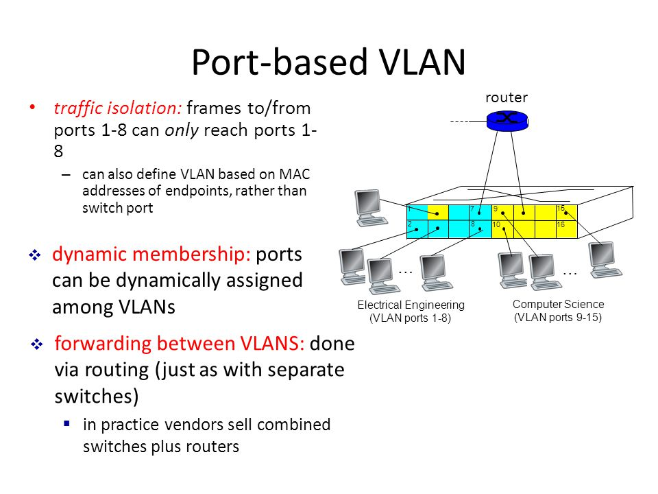 Port-based VLAN … Electrical Engineering (VLAN ports 1-8) Computer Science (VLAN ports 9-15) 15 … traffic isolation: frames to/from ports 1-8 can only reach ports 1- 8 – can also define VLAN based on MAC addresses of endpoints, rather than switch port  dynamic membership: ports can be dynamically assigned among VLANs router  forwarding between VLANS: done via routing (just as with separate switches)  in practice vendors sell combined switches plus routers