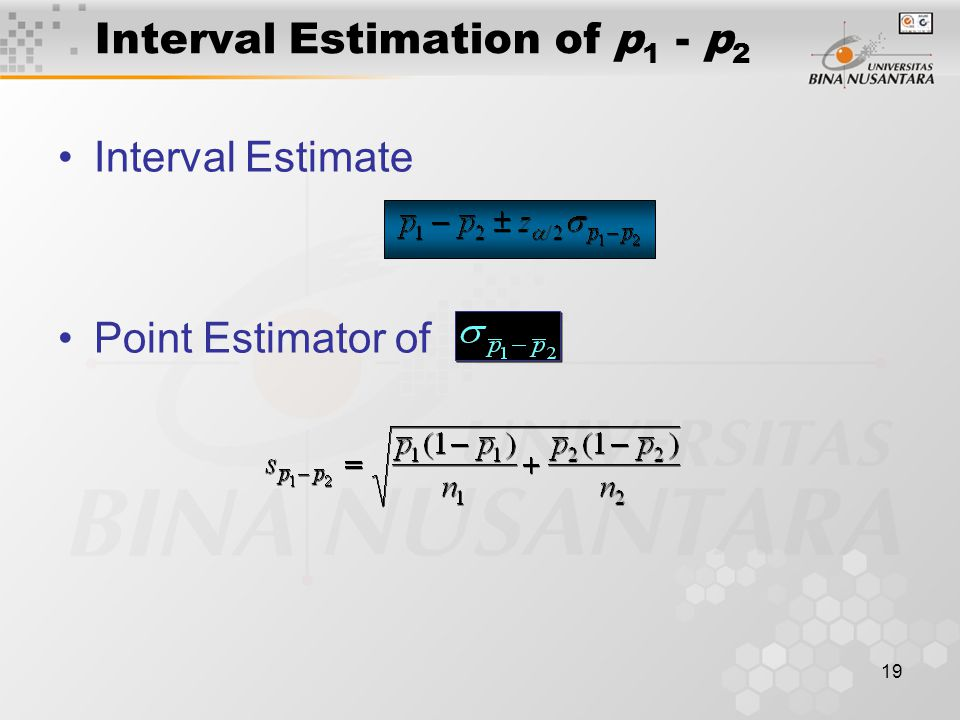 19 Interval Estimation of p 1 - p 2 Interval Estimate Point Estimator of