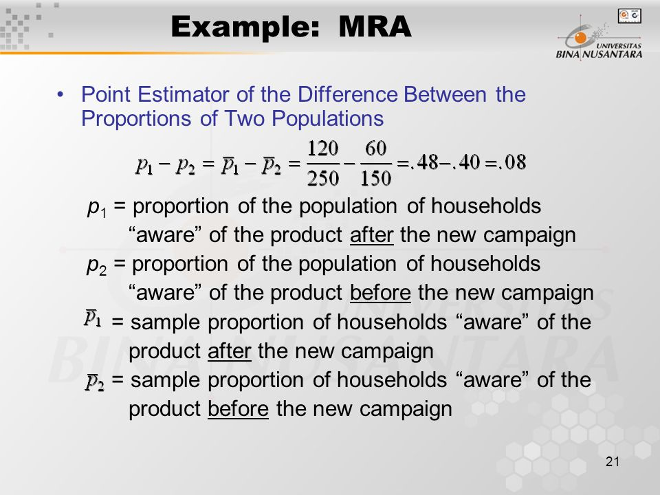 21 Example: MRA Point Estimator of the Difference Between the Proportions of Two Populations p 1 = proportion of the population of households aware of the product after the new campaign p 2 = proportion of the population of households aware of the product before the new campaign = sample proportion of households aware of the product after the new campaign = sample proportion of households aware of the product before the new campaign