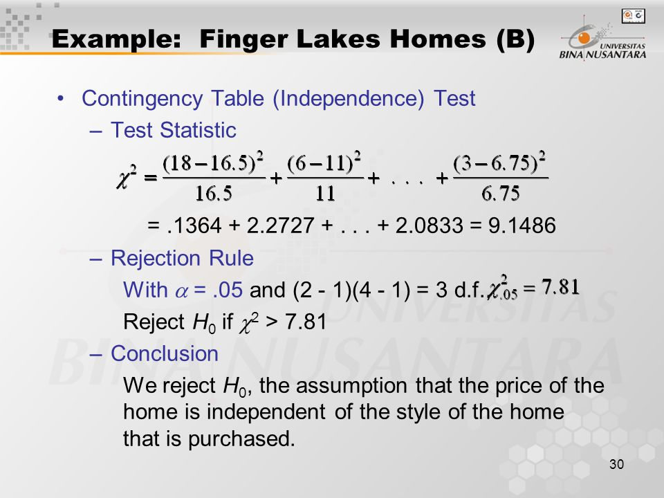 30 Contingency Table (Independence) Test –Test Statistic =