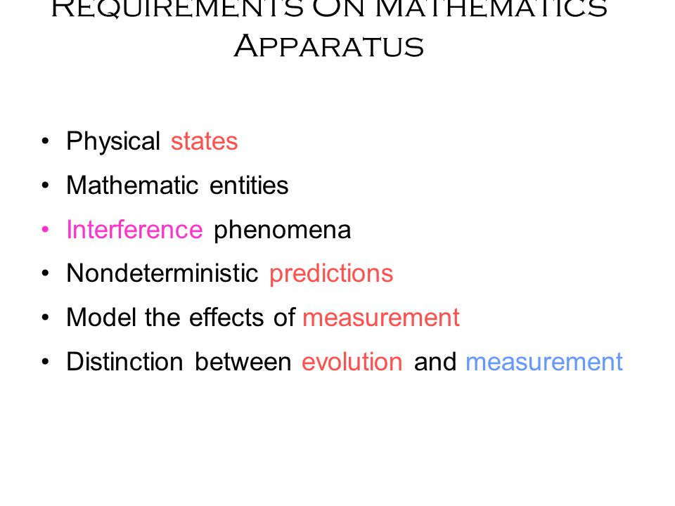Requirements On Mathematics Apparatus Physical states Mathematic entities Interference phenomena Nondeterministic predictions Model the effects of measurement Distinction between evolution and measurement