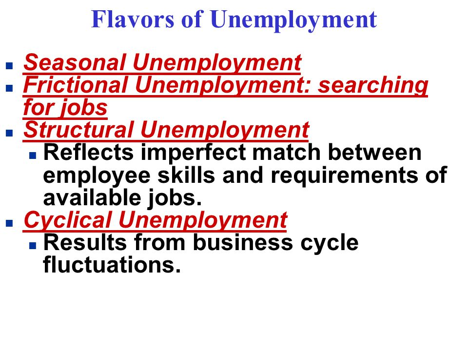 Flavors of Unemployment n Seasonal Unemployment n Frictional Unemployment: searching for jobs n Structural Unemployment n Reflects imperfect match between employee skills and requirements of available jobs.