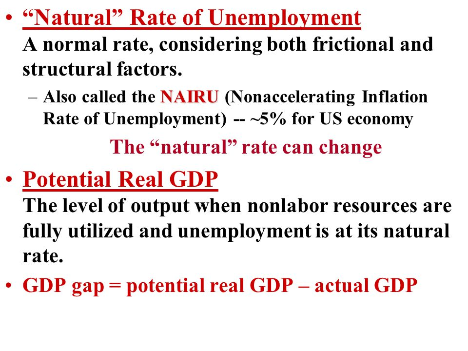 Natural Rate of Unemployment A normal rate, considering both frictional and structural factors.