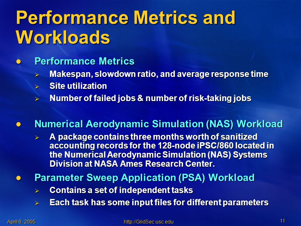 April 6, Performance Metrics and Workloads Performance Metrics Performance Metrics  Makespan, slowdown ratio, and average response time  Site utilization  Number of failed jobs & number of risk-taking jobs Numerical Aerodynamic Simulation (NAS) Workload Numerical Aerodynamic Simulation (NAS) Workload  A package contains three months worth of sanitized accounting records for the 128-node iPSC/860 located in the Numerical Aerodynamic Simulation (NAS) Systems Division at NASA Ames Research Center.
