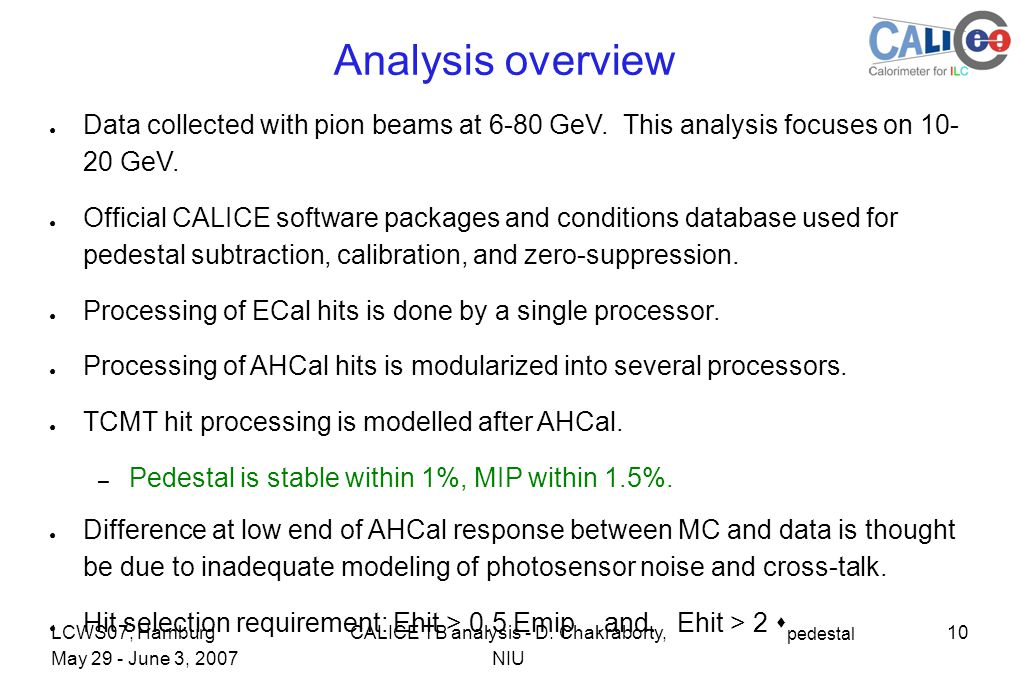 10CALICE TB analysis - D.