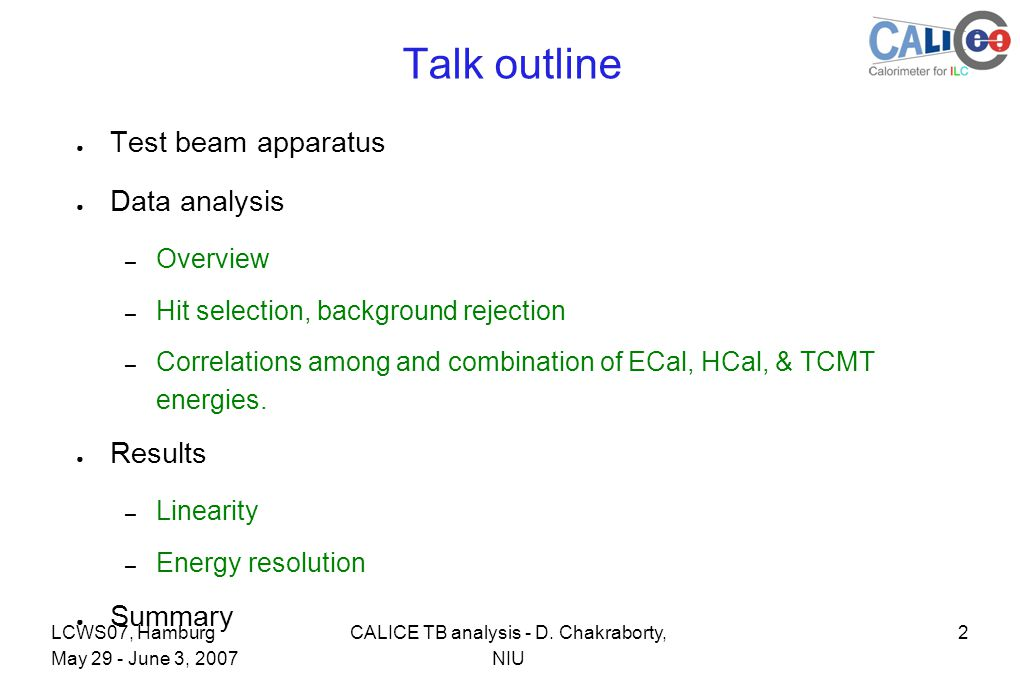 2CALICE TB analysis - D.