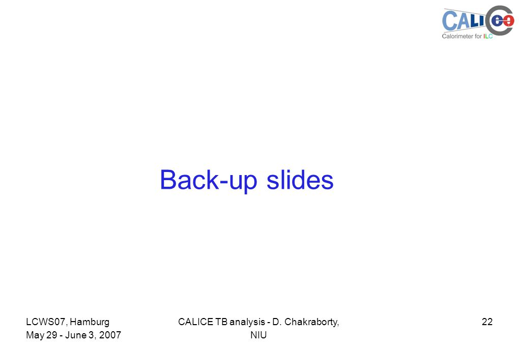 22CALICE TB analysis - D. Chakraborty, NIU LCWS07, Hamburg May 29 - June 3, 2007 Back-up slides