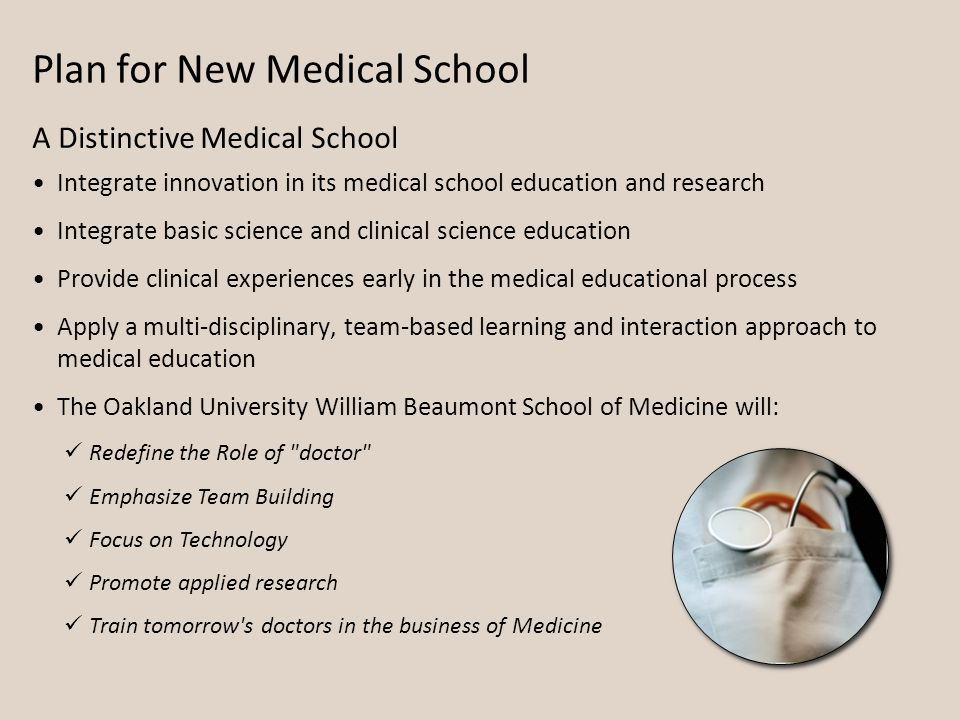 Plan for New Medical School Integrate innovation in its medical school education and research Integrate basic science and clinical science education Provide clinical experiences early in the medical educational process Apply a multi-disciplinary, team-based learning and interaction approach to medical education The Oakland University William Beaumont School of Medicine will: A Distinctive Medical School Redefine the Role of doctor Emphasize Team Building Focus on Technology Promote applied research Train tomorrow s doctors in the business of Medicine