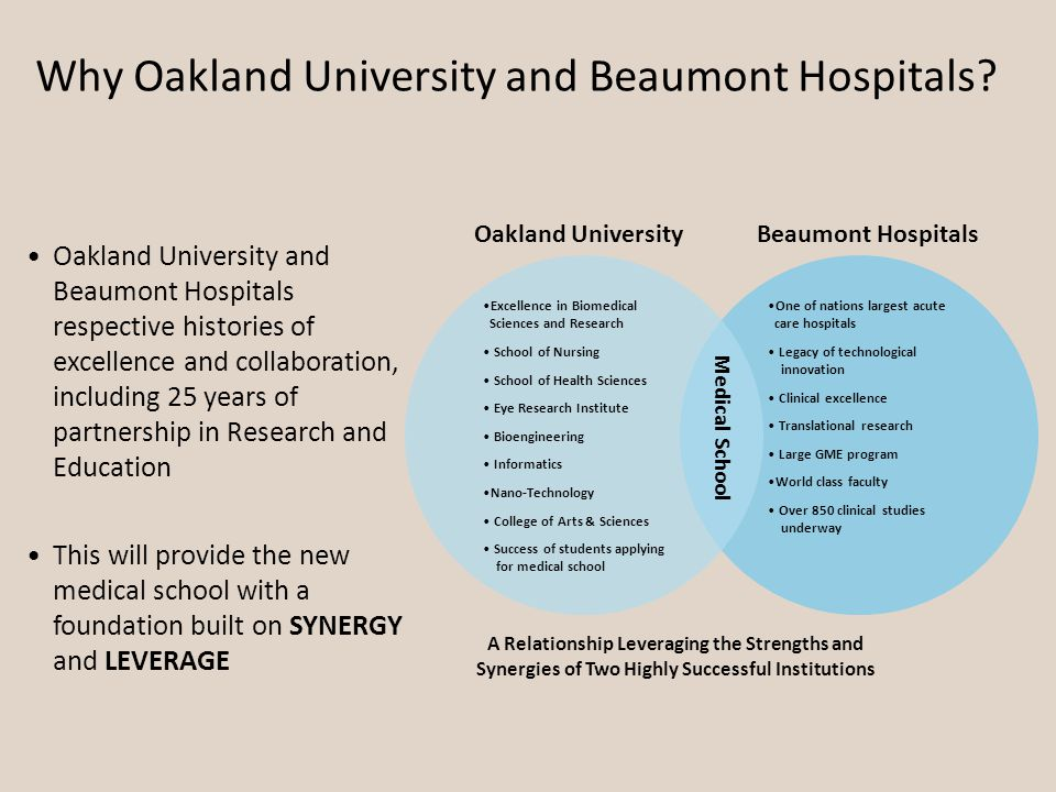 Why Oakland University and Beaumont Hospitals.