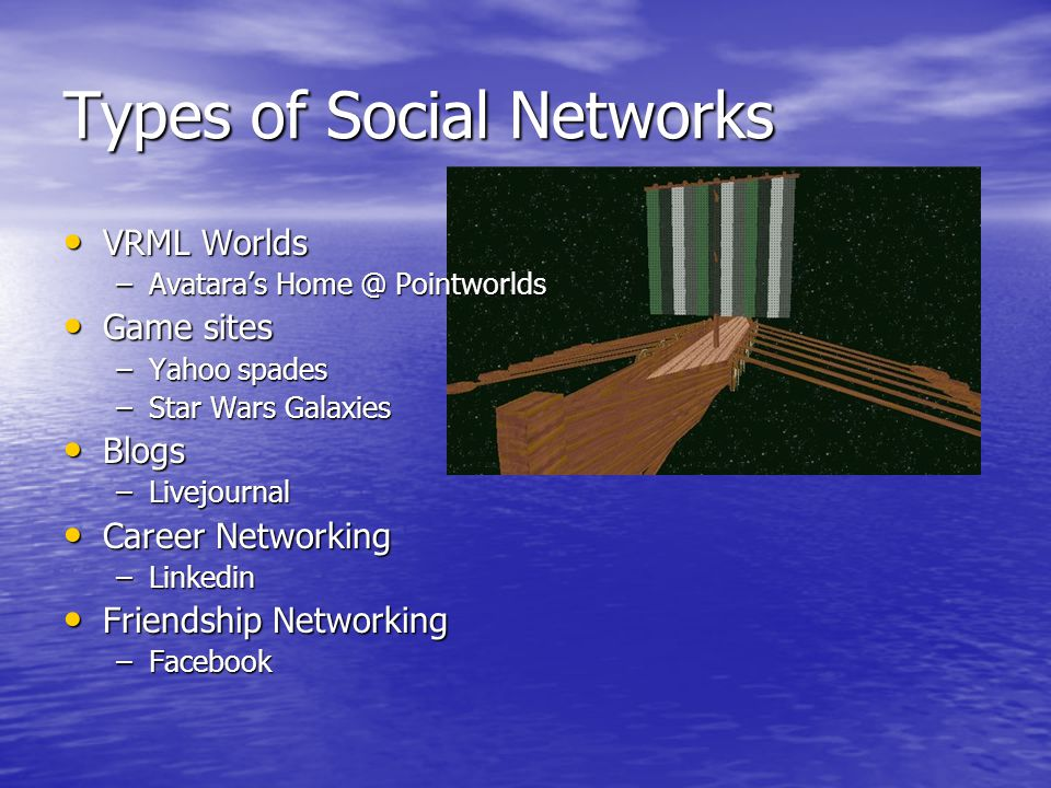 Social Networks …through computer networks…  Types of