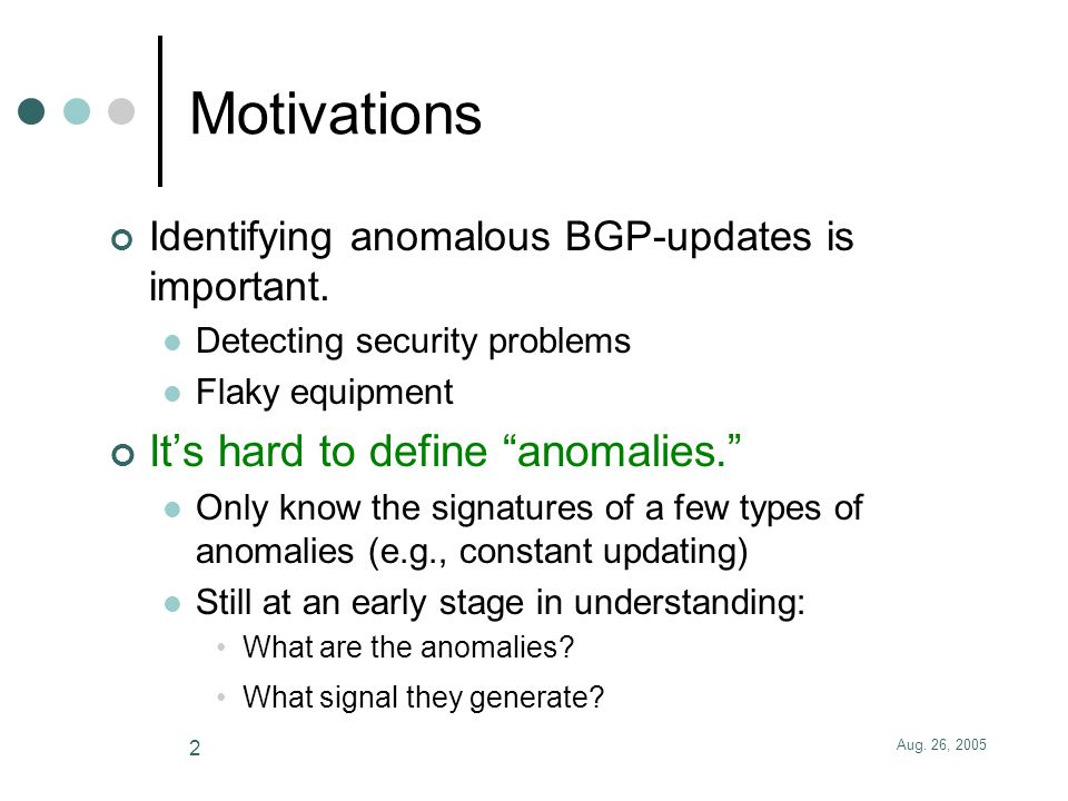 Learning-Based Anomaly Detection in BGP Updates Jian Zhang