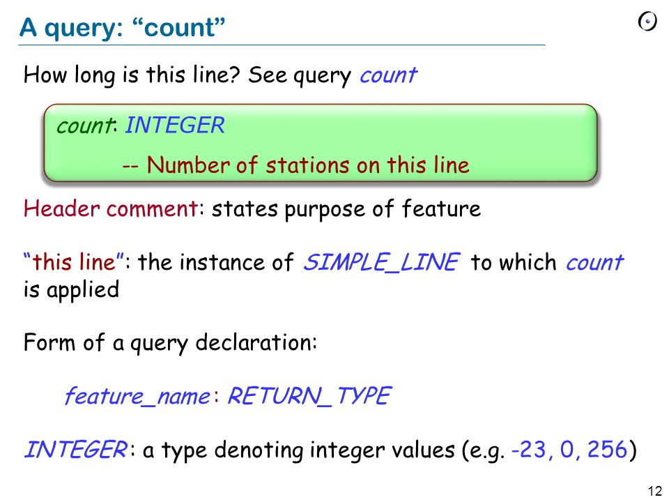 12 A query: count How long is this line.