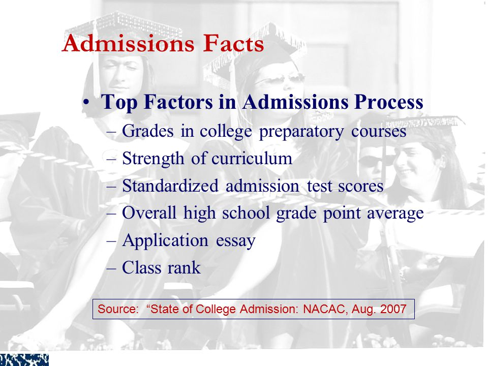Connecticut Student Loan Foundation Admissions Facts Top Factors in Admissions Process –Grades in college preparatory courses –Strength of curriculum –Standardized admission test scores –Overall high school grade point average –Application essay –Class rank Source: State of College Admission: NACAC, Aug.