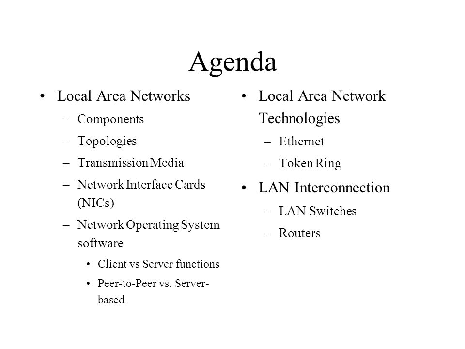 Agenda Local Area Networks –Components –Topologies –Transmission Media –Network Interface Cards (NICs) –Network Operating System software Client vs Server functions Peer-to-Peer vs.