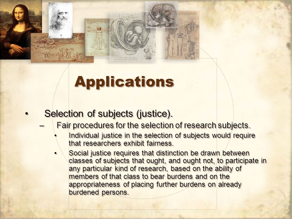 Applications Selection of subjects (justice).