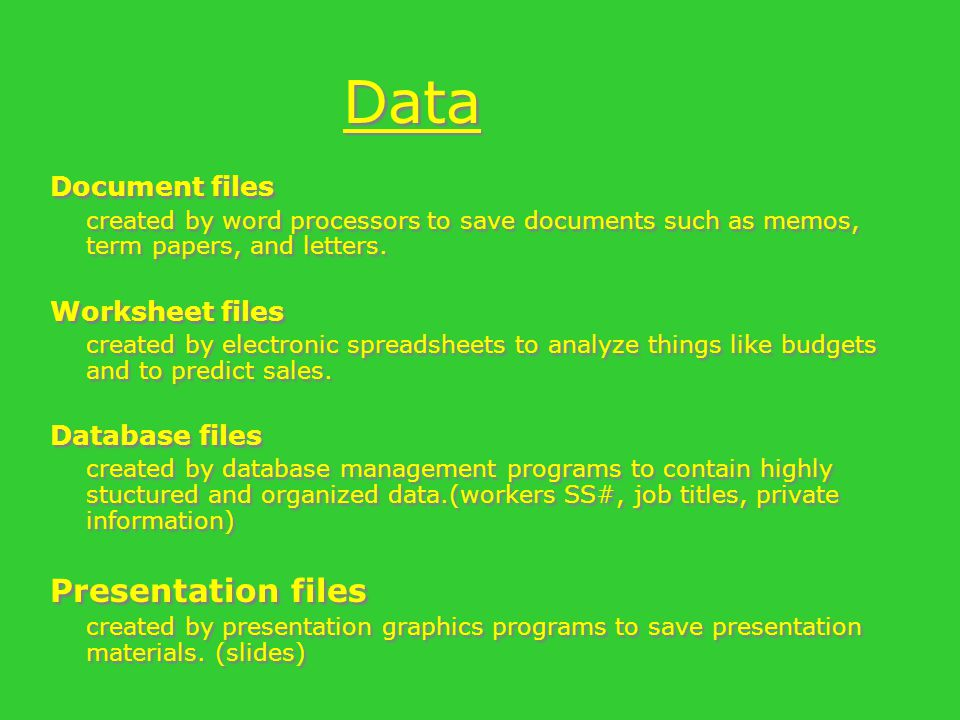 Data Document files created by word processors to save documents such as memos, term papers, and letters.