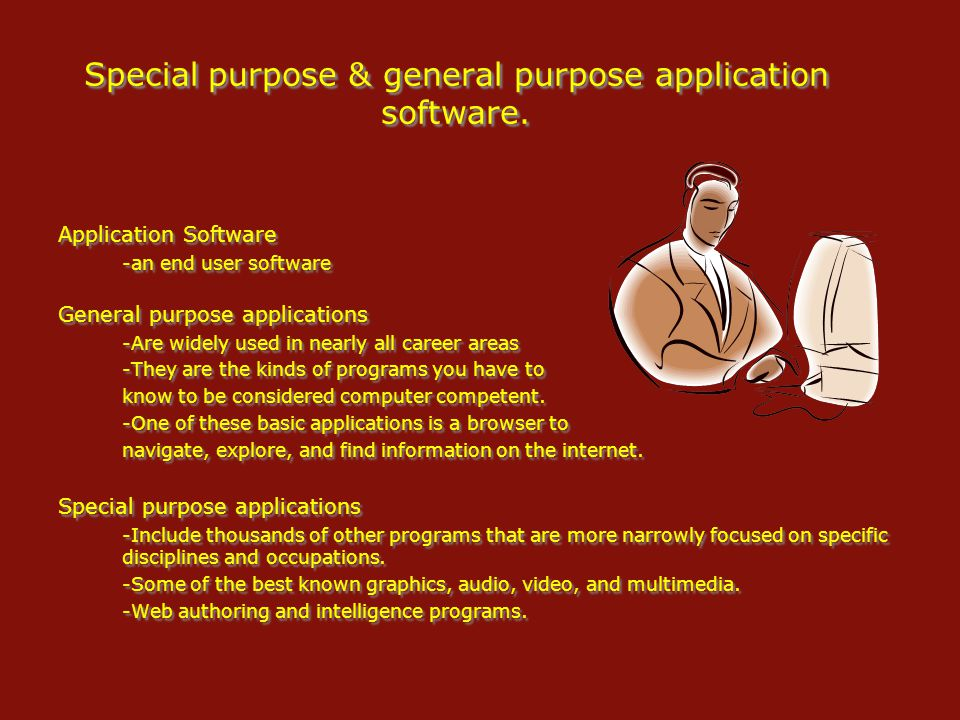 Special purpose & general purpose application software.