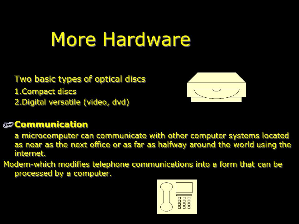 More Hardware Two basic types of optical discs 1.Compact discs 2.Digital versatile (video, dvd) Communication a microcomputer can communicate with other computer systems located as near as the next office or as far as halfway around the world using the internet.