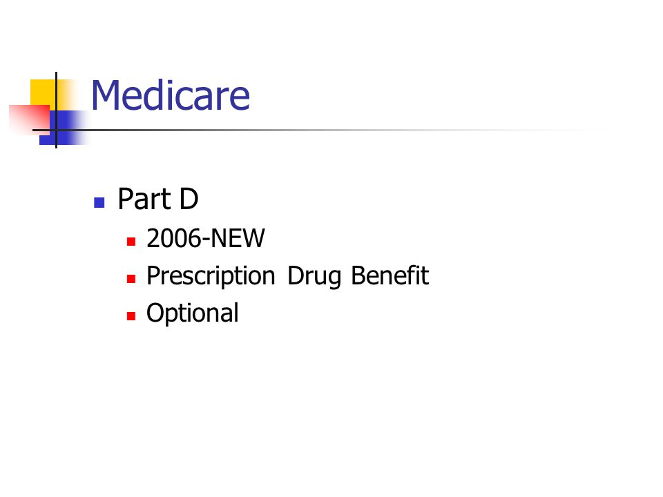 Medicare Part D 2006-NEW Prescription Drug Benefit Optional