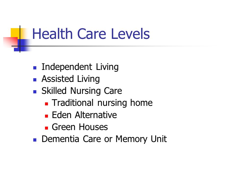 Health Care Levels Independent Living Assisted Living Skilled Nursing Care Traditional nursing home Eden Alternative Green Houses Dementia Care or Memory Unit