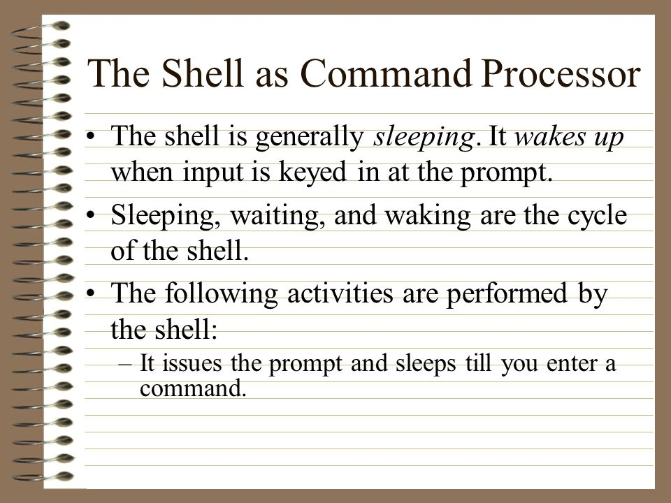The Shell as Command Processor The shell is generally sleeping.