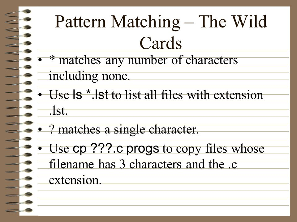 Pattern Matching – The Wild Cards * matches any number of characters including none.