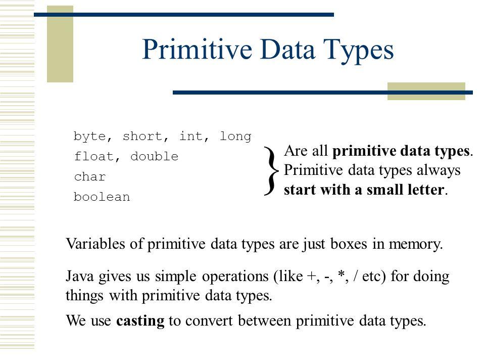 Primitive Data Types byte, short, int, long float, double