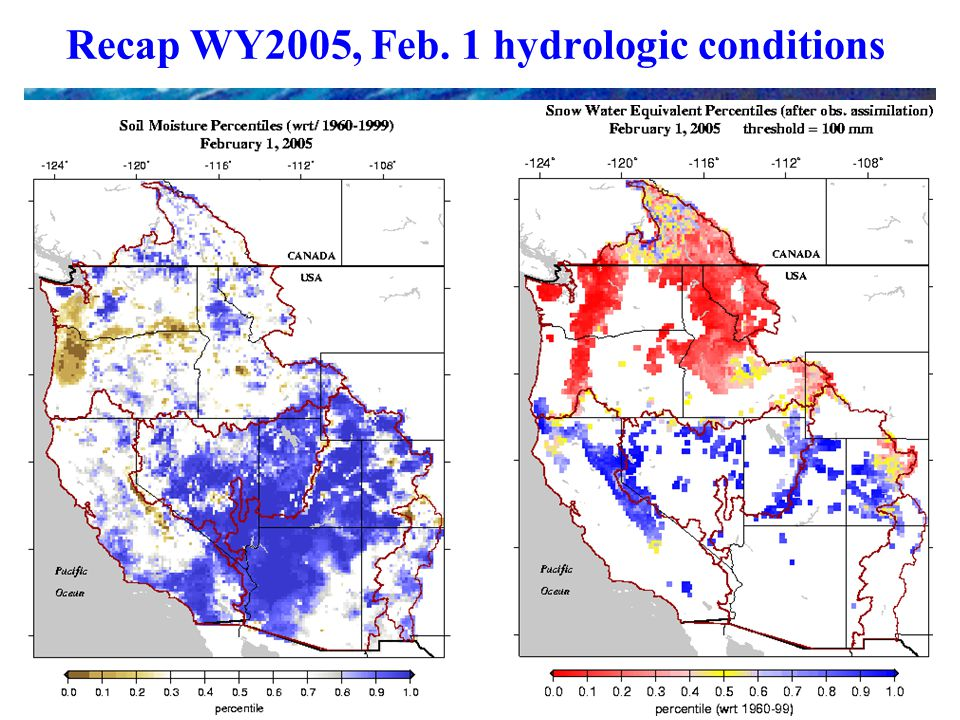 Recap WY2005, Feb. 1 hydrologic conditions