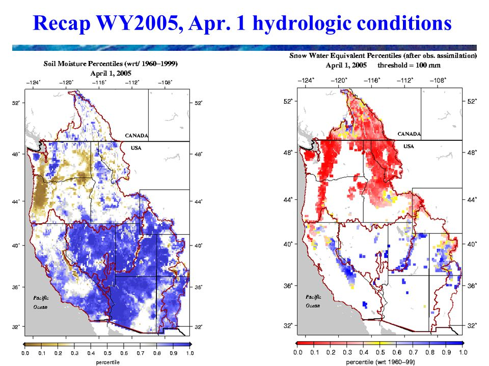 Recap WY2005, Apr. 1 hydrologic conditions