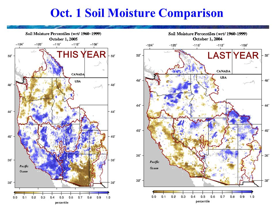 Oct. 1 Soil Moisture Comparison THIS YEAR LAST YEAR