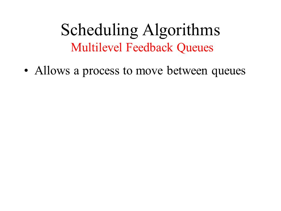Scheduling Algorithms Multilevel Feedback Queues Allows a process to move between queues