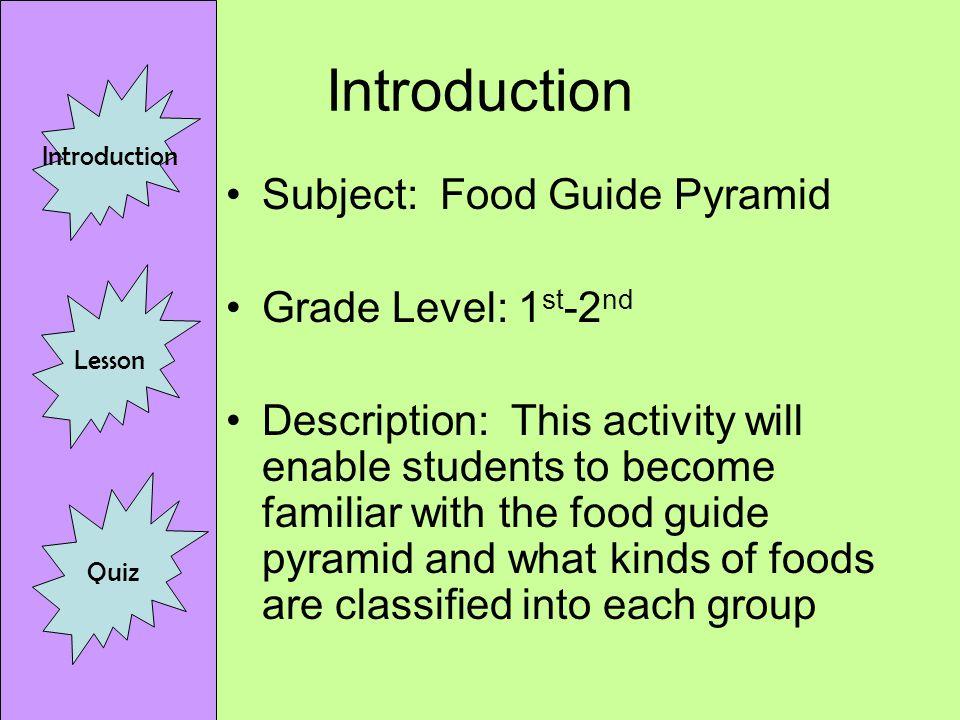 n u t r i t i o n introduction lesson quiz introduction subject