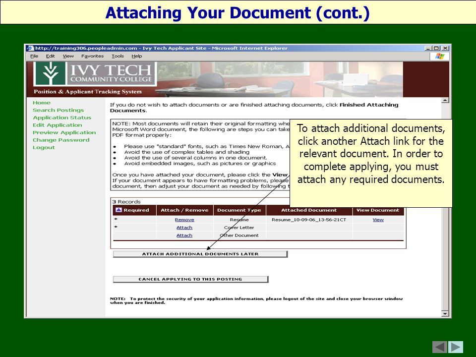 To attach additional documents, click another Attach link for the relevant document.