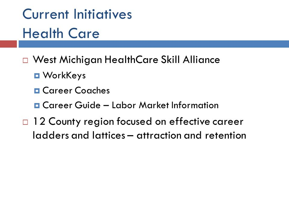 Current Initiatives Health Care  West Michigan HealthCare Skill Alliance  WorkKeys  Career Coaches  Career Guide – Labor Market Information  12 County region focused on effective career ladders and lattices – attraction and retention