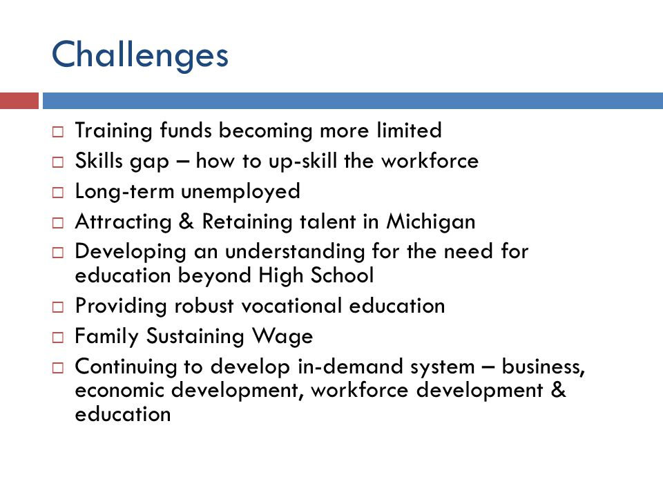 Challenges  Training funds becoming more limited  Skills gap – how to up-skill the workforce  Long-term unemployed  Attracting & Retaining talent in Michigan  Developing an understanding for the need for education beyond High School  Providing robust vocational education  Family Sustaining Wage  Continuing to develop in-demand system – business, economic development, workforce development & education