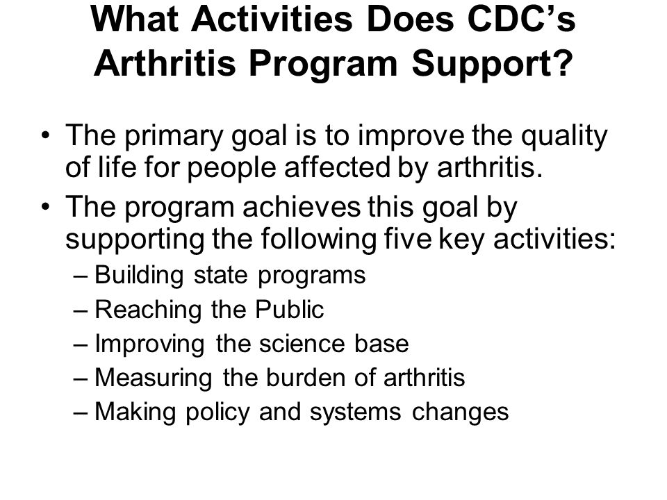 What Activities Does CDC's Arthritis Program Support.