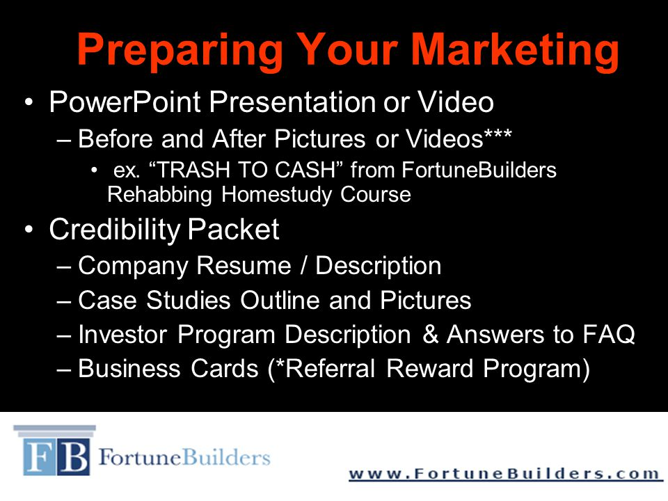 Preparing Your Marketing PowerPoint Presentation or Video –Before and After Pictures or Videos*** ex.