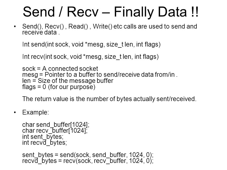 Send / Recv – Finally Data !.