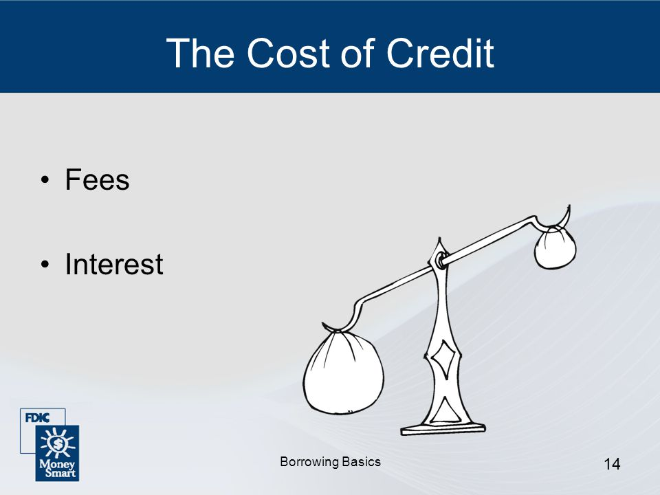 Borrowing Basics 14 The Cost of Credit Fees Interest