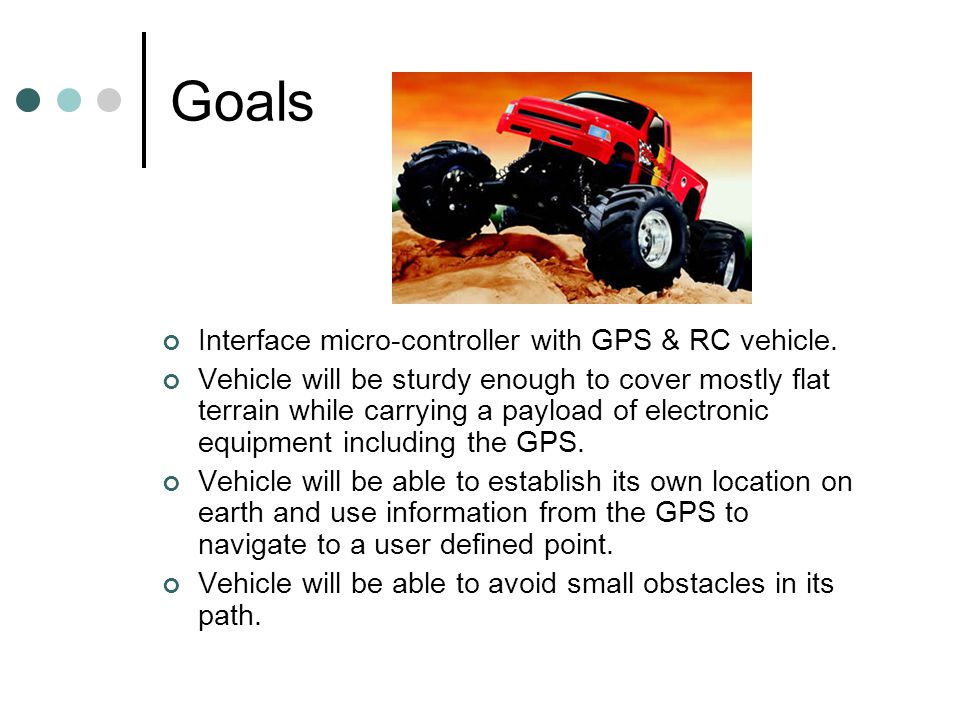 Goals Interface micro-controller with GPS & RC vehicle.