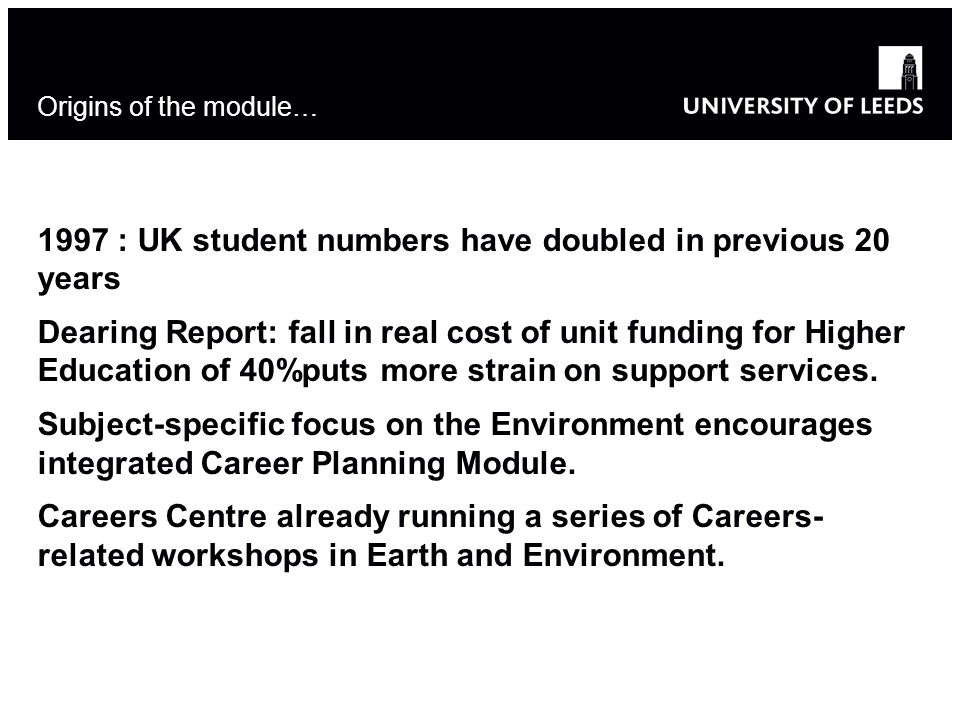 Origins of the module… 1997 : UK student numbers have doubled in previous 20 years Dearing Report: fall in real cost of unit funding for Higher Education of 40%puts more strain on support services.